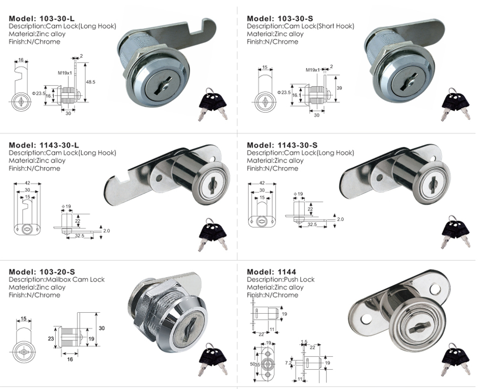 Furniture Lock / Chr Pipe / Upright Series